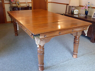 SNOOKER TABLE CONVERTS To Oak Dining Table Slate Bed Antique - Table converts to bed