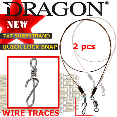 Wire Traces with QUICK LOCK SNAP New Lure fishing leaders 2 pcs Predator Tackle