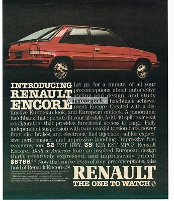 1983 Renault ENCORE Red 2-door Hatchback Vtg Print Ad