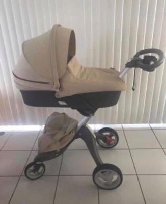 Stokke Xplory Stroller & Stokke XPLORY Carry Cot Complete Kit in Beige color