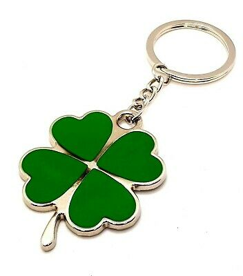 Lucky Four Leaf Clover Irish Shamrock Keyring Key Chain Gift