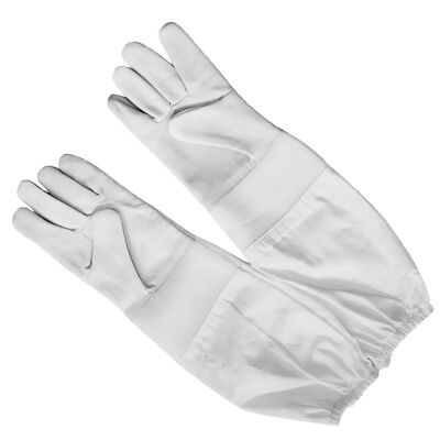 Long Cotton Sleeves Goatskin Leather Beekeeping Gloves Protection White