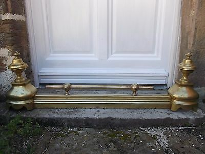 French antique exquisite brass andirons fireplace guard surround