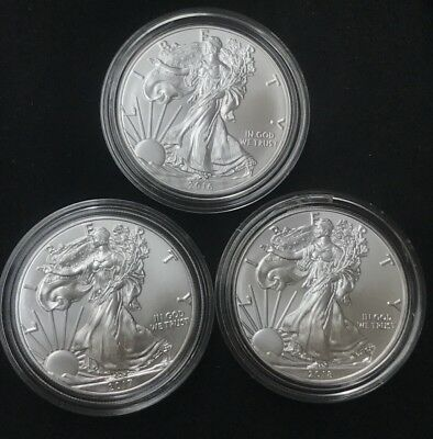 Lot of 3 $1 1oz Silver American Eagle BU With Mint Clear Capsule Years 16 17 18