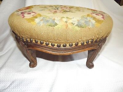 Rare Antique 19th Century Needlepoint Wooden Footstool Carved Legs