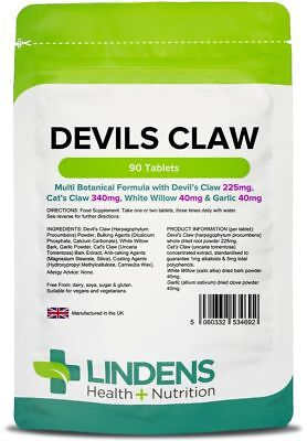 **Lindens DEVILS Claw Tablets (90) Multi Botanical Formula for ARTHRITIS, Joints