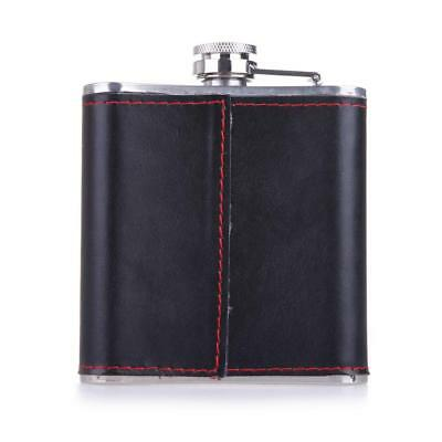 Hip Flask 6 oz Stainless Steel Leather Wrapped Whiskey Bottle Portable Drinkware