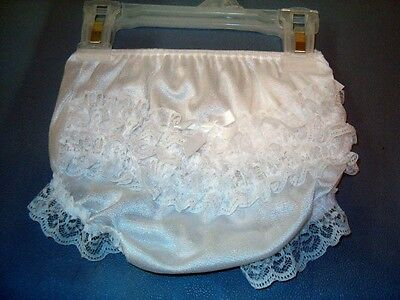 """9/12 Months """"Boutique"""" White Lace Rhumba Pageant Diaper Cover Panty Bloomers NWT"""