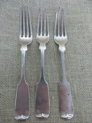 Three J. Brunner coin silver forks- 1878