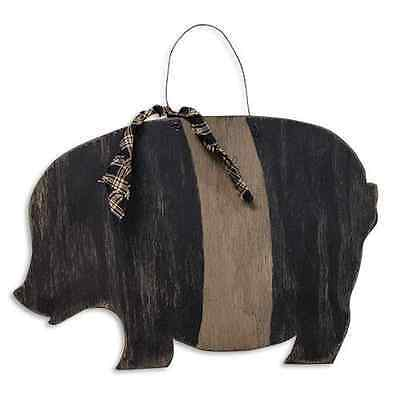 New Primitive Country Folk Art Black PIG PLAQUE Wood Wall Hanging