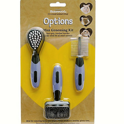 Rosewood Options Mini Grooming Set Brush Comb Rabbit Guinea Pig Hamster Gerbil