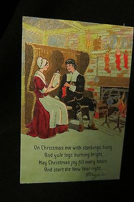 Vintage ART DECO DOLL & COLONIAL Couple Christmas Card c. 1920s