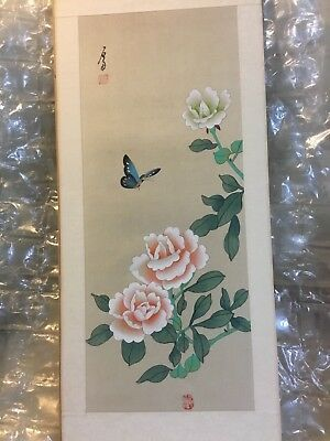 VINTAGE BEAUTIFUL SIGNED CHINESE HAND PAINT ON SILK roses&butterfly VGC