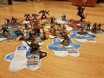 Heroscape figures and cards from Rise of The Valkyrie Master Set