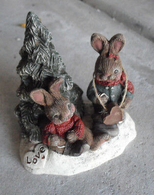 """1992 Sarah's Attic Love One Another Rabbits LE #1259 Signed Figurine 4"""" Tall"""