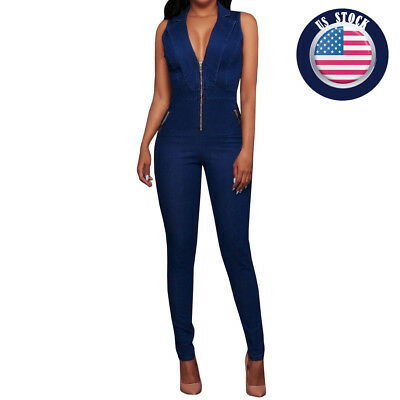 Women Jumpsuits Jeans Denim Plunging Sleeveless Sheath Slim Stretch trousers US