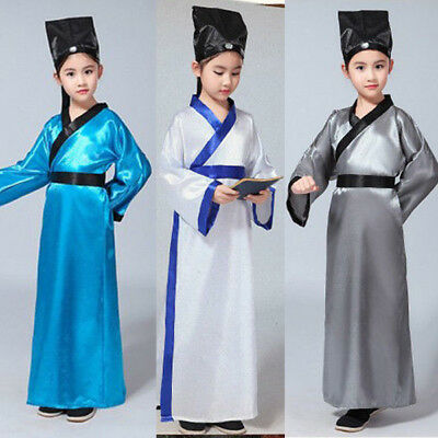 Boys Kids Child Chinese Han Traditional Costume Ancient Student School Uniform