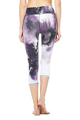 NWT Alo Yoga Airbrush Capri Purple Pennant Smoke Print Size L Leggings Women