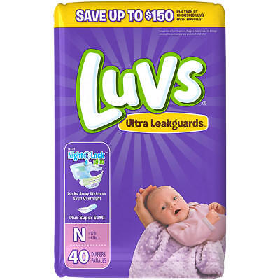 40 Diapers Luvs Ultra Leakguards Diapers with Night Lock Size N Newborn