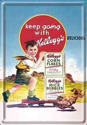 Letrero De Metal 10 x 14cm - CEREALES kellogg's keep going
