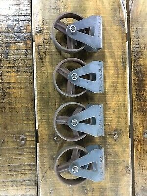 Set Of 4 Cast Iron Wheels, 95mm Fixed Castor Wheel, for Industrial furniture