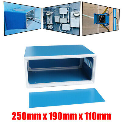 "10""x7""x4"" Blue Metal Electronic Enclosures Box DIY Project Junction Case Cover"