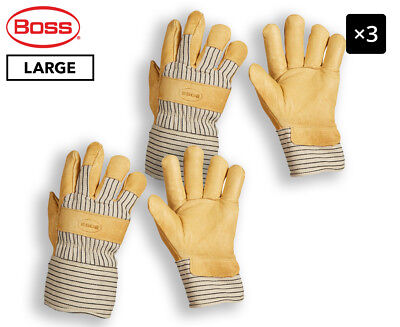3 x Boss Large Insulated Pigskin Leather Palm Work Gloves - Yellow/Cream