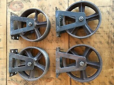 Set Of 4 Cast Iron Wheels, 135mm Fixed Castor Wheel, for Industrial furniture