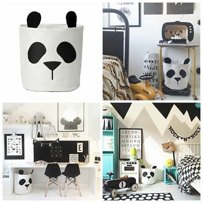 Panda Canvas Storage Bins Bag Kids Toy Clothes Laundry basket Can Stand Room