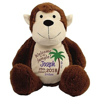 Personalised Monkey New Baby Christening Embroidered Soft Teddy Toy Newborn Gift