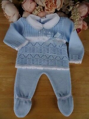 Spanish Style Traditional 2Pc Baby Boy Fine Knit Occasion Set Top Bottoms 0-3-6m