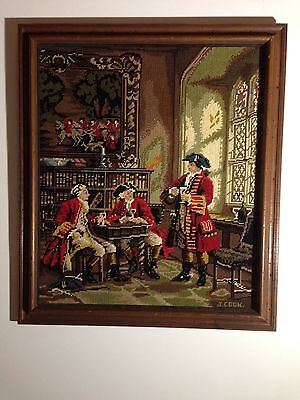 Vintage Tapestry In Frame Hand Made 595 X 685 Stretched  Over Wooden Frame