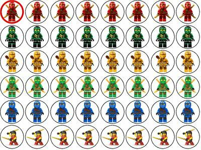 48 Lego Ninjago Wafer Paper Party Cupcake/Fairy Cake Toppers 3cm
