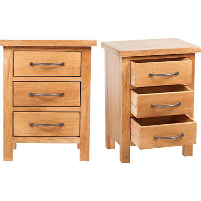 Oak Nightstand with 3 Drawers Bedroom Storage Cabinet Bed Side Table Furniture