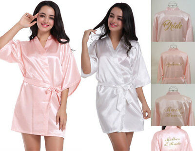 White/Pink Satin Personalized Wedding Robe Bridesmaid Bride Mother Dressing Gown