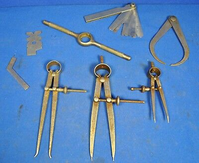 Three sets of Moore and Wright bow spring Vintage dividers and other items.