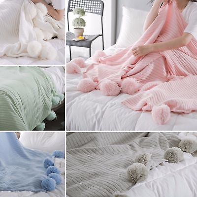 New 100% Cotton Knitted Blanket 150x200cm PomPom Deco Balls Home Decor Throw Rug