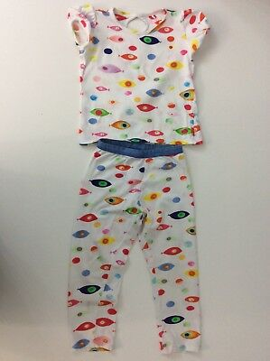 Oilily Girls Outfit, Set, Fish, Size Age 6 Years, 116 Cm, White, Leggings Vgc