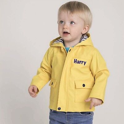 Personalised Baby Toddler Rain Navy Yellow Jacket Coat Girls Boys Long Sleeve