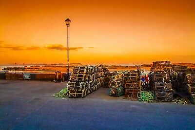 Sunset Seaside Harbour Christchurch Canvas Picture Poster Print Unframed #880