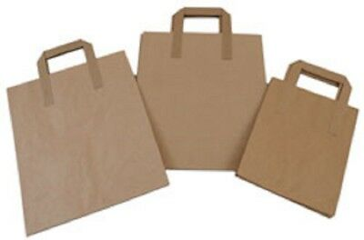 Tape Handle Paper Carrier Bags - Various Sizes - In Brown or White