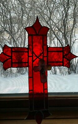 2Vtg Antique Red Stained Glass old Jesus Crucifix/Cross Religious Window decor