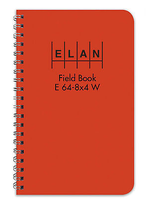 Surveying Book Field Wired Subject Notebook Paper 4 ⅞x7 ¼ Orange Cover Fast Ship