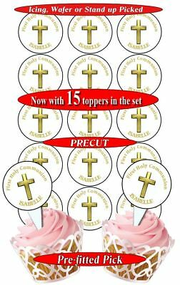 15 Holy Communion Gold edible cupcake toppers, precut, 2 sizes, PERSONALISED