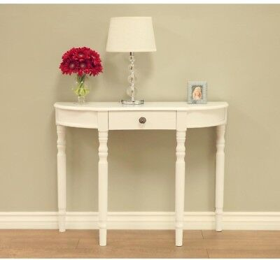 Storage Console Table Modern Demilune Half Moon Shape Classic Design In White