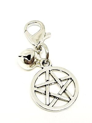 Pentagram Charm for Cat Dog Pet Collar Silver Bell Witches Pentacle Metal