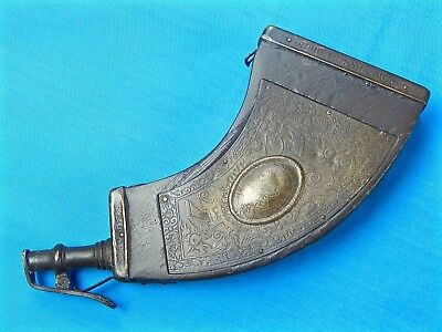 Antique Old Italy Italian Engraved Hunting Black Powder Flask