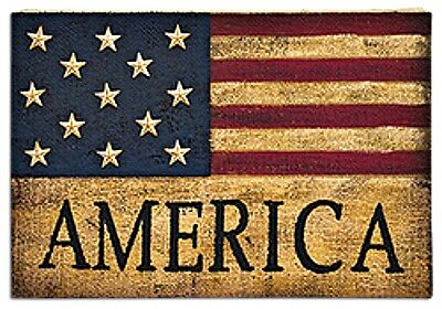 New Primitive Country Americana AMERICAN FLAG BURLAP PAINTED PICTURE Plaque Sign