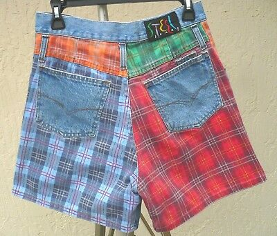 Vtg Steel Jeans Denim Plaid Patch 11 S M Country Hippie Rockabilly Shorts Women
