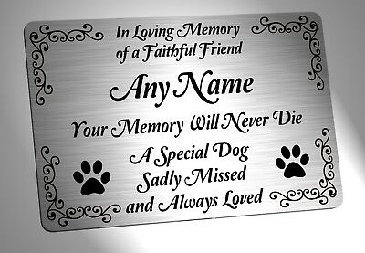 Personalised Dog Memorial Plaque. Brushed Silver Waterproof garden grave